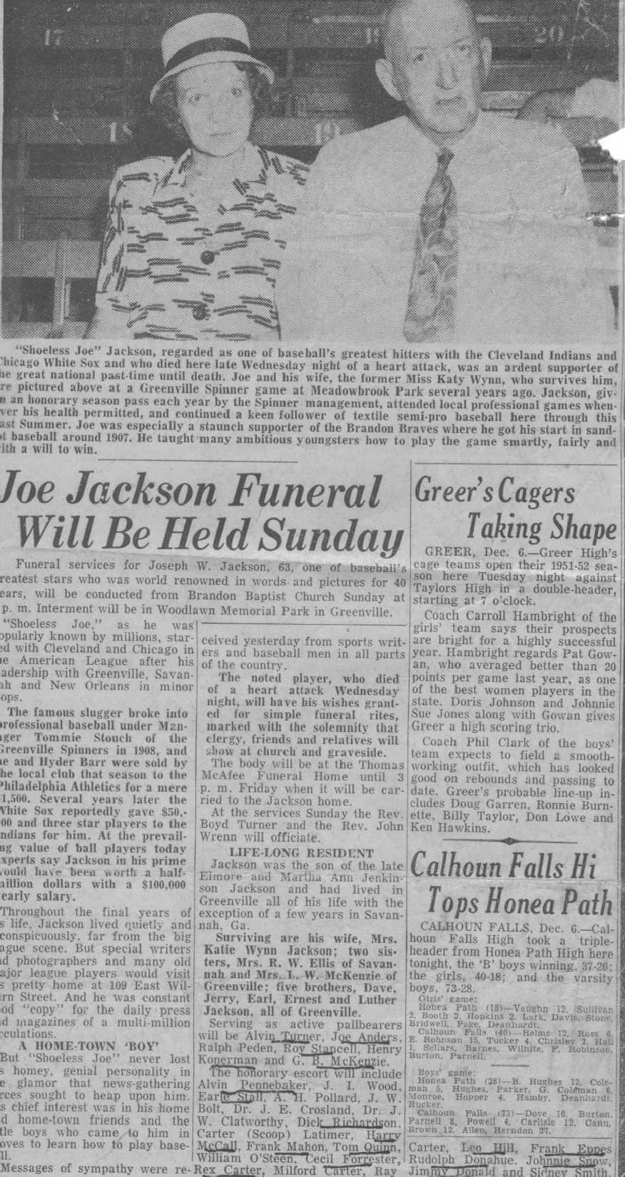 Shoeless Joe Jackson Virtual Hall Of Fame Miscellaneous